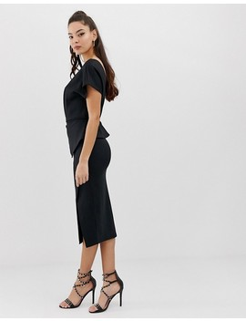Asos Design Midi Pencil Dress With Gathered Peplum Waist by Asos Design