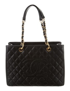 Grand Shopping Gst Quilted Ghw Classic Timeless Black Caviar Leather Tote by Chanel