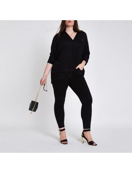 Plus Black Button Front Bar Back Blouse by River Island