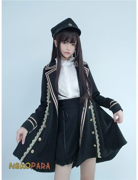 Cool Military Swallowtail Suit Winter Women's Set: Long Sleeve Tailcoat Trench + White Blouse + Cross Tie Ribbon Shorts Lolita by Neko Para