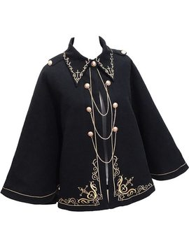 Winter Woolen Women Cloak Magic School Coat Gold Cross Embroidery Gothic Black Lolita Princess Royal Long Cape Preppy Blends by Adomoe