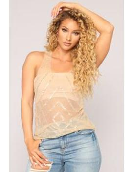 Vegas Nights Sequin Top   Nude by Fashion Nova