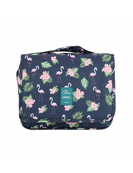 Hanging Toiletry Bag Large Capacity Bathroom Storage Travel Wash Bag Organizer Makeup Pouch Cosmetic Bag With Flamingo Pattern For Women/Man/Travel/Bathroom/Hotel/Organizer (Flamingo Navy Blue) by Amazon