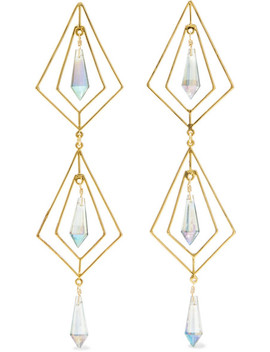 Gold Plated Crystal Earrings by Mercedes Salazar