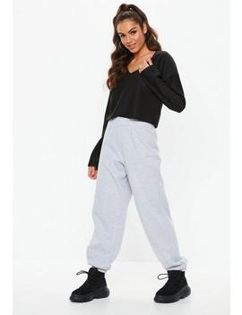 Black Boxy Chunky Ribbed Cropped Sweatshirt by Missguided
