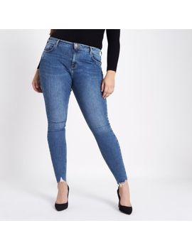 Plus Blue Amelie Rip Hem Super Skinny Jeans by River Island
