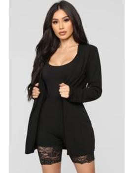 Here For A Good Time Blazer Set   Black by Fashion Nova