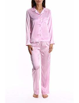 Blis Women's Satin Long Sleeve Sleep Shirt And Lounge Pants Pj Set   Ladies Pajamas & Sleepwear by Blis