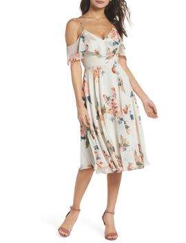 Kelli Ohana Print Chiffon Cold Shoulder Dress by Jenny Yoo Collection