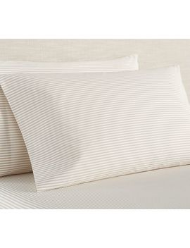 Wheaton Stripe Organic Extra Pillowcases, Set Of 2, King, Gray by Pottery Barn