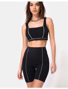 Neho Cycle Short In Black With Piping Line By Motel by Motel