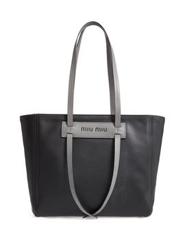 Grace Lux Calfskin Leather Tote by Miu Miu