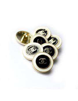 Chanel Cc Buttons   Set X 7 (16 Mm)  Vintage Preowned White & Black Goldtone Metal Buttons by Etsy