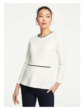 Piped Peplum Top by Ann Taylor