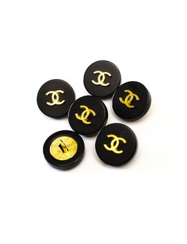 Chanel Buttons, Size 1.6 Cm, Stamped Vintage, Authentic Rare, Black Gold Cc, Chanel Jewelry, Chanel Jacket. Price For 1 Button by Etsy