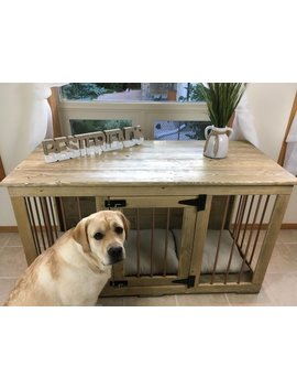 Best Friends (#1on Etsy)   Rustic Style Single Dog Kennel/Handmade Kennel/Dog Bed/Dog Crate Furniture/Pet Furniture/Handcrafted Wood by Etsy