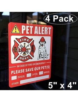 "4 Pack Front Self Adhesive Vinyl 5"" X 4"" Home Business Vehicle Pet Alert Fire Emergency Rescue Warning Window Door Sticker Decals by Etsy"
