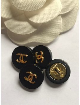 Set Of 4 Black Cc Gold Tone Buttons ,  17 Mm by Etsy