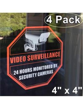 "4 Pack Front Self Adhesive Clear Vinyl 4"" X 4"" Home Business Security Dvr Camera Video Surveillance Window Door Warning Sign Sticker Decal by Etsy"