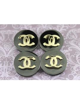 Chanel Buttons Set Of 4 25mm. Vintage Preowned Black And Gold Large Metal Buttons by Etsy