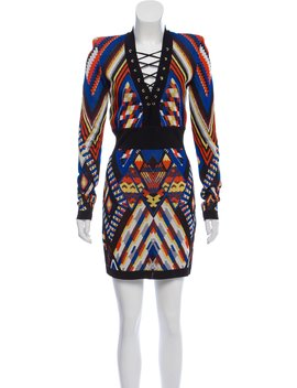 Patterned Knit Lace Up Mini Dress W/ Tags by Balmain