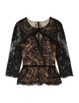 Cutout Corded Lace Blouse by Marchesa Notte
