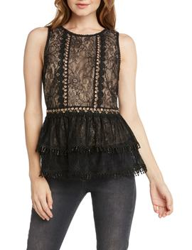 Lace & Grommets Peplum Top by Willow & Clay