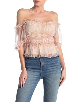 Sadie Printed Summer Romance Off The Shoulder Top by Love Sam