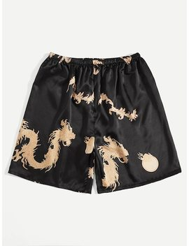 Men Dragon Print Satin Sleep Shorts by Sheinside
