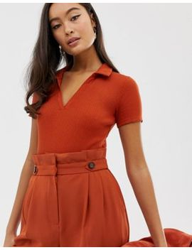 Miss Selfridge Body With Collar In Rust by Miss Selfridge