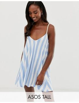 Asos Design Tall Jersey Beach Sundress In Stripe With Rope Tie by Asos Design