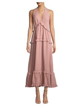 Embroidered V Neck Ruffle Tank Dress by Jonathan Simkhai