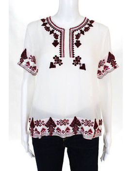 Elle Sasson Womens Top Blouse Size 4 Pink White Beaded Trim Short Sleeve by Elle Sasson