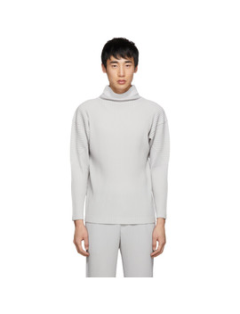 Grey Pleated Turtleneck by Homme PlissÉ Issey Miyake