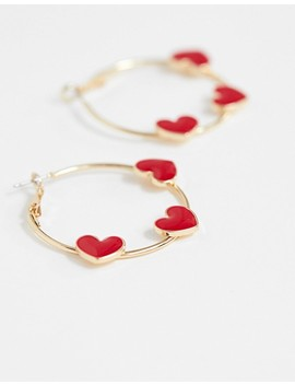 Asos Design Hoop Earrings With Red Love Hearts In Gold Tone by Asos Design