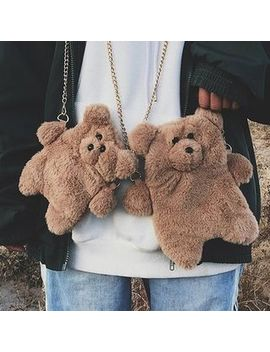Oucha   Bear Shape Furry Crossbody Bag by Oucha