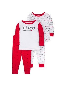 Valentine's Long Sleeve Tight Fit Organic Cotton Pajamas, 4pc Set (Baby Boys & Toddler Boys) by Little Star Organic