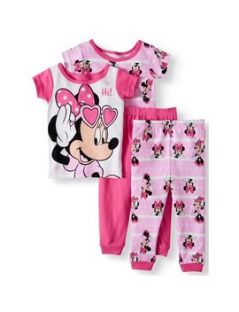 Cotton Tight Fit Pajamas, 4 Piece Set (Toddler Girls) by Minnie Mouse