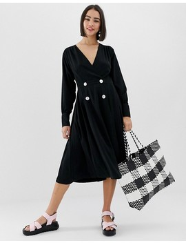 Monki V Neck Midi Dress With Button Details In Black by Monki