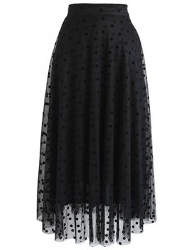 Stay Here Polka Dots Mesh Skirt In Black by Chicwish