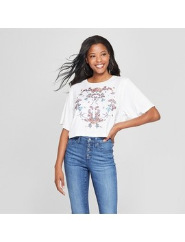 Women's Short Sleeve Embroidered Crop T Shirt   3 Hearts (Juniors') White by 3 Hearts
