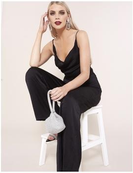 Black Cowl Front Wide Leg Jumpsuit by Public Desire