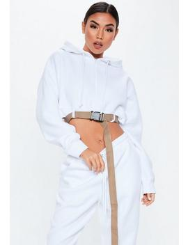 White Buckle Front Cropped Sweatshirt by Missguided