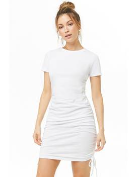 Ruched Lace Up T Shirt Dress by Forever 21