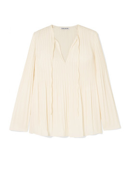 Jade Pleated Crepe De Chine Blouse by Elizabeth And James