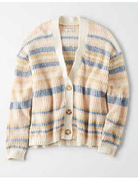 Ae Slouchy Stripe Button Cardigan by American Eagle Outfitters