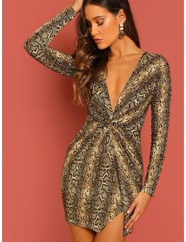 Deep V Twist Front Glitter Snake Print Mini Dress by Sheinside