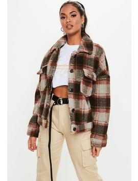 Brown Checked Teddy Trucker Coat by Missguided