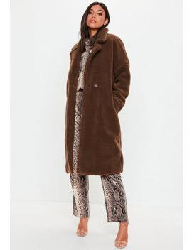 Brown Chunky Borg Teddy Coat by Missguided