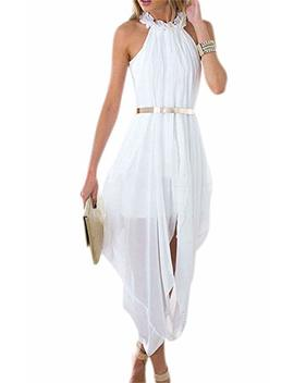 Unbranded**** Women's Sheer Chiffon Folds Hi Low Loose Dress Delicate Gold Belt by Unbranded*